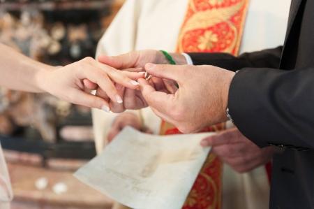 wedding band: wedding ceremony, bride and groom during wedding day  Stock Photo