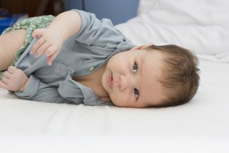 beautiful baby portrait on light background
