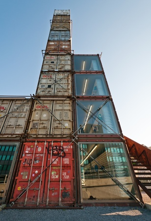 Freitag: Freitag company flagship shop made with freight containers. Photo taken on 20.08.2011 Editorial