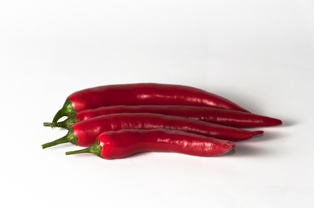 intense flavor: four chili peppers in lateral position on a white background.