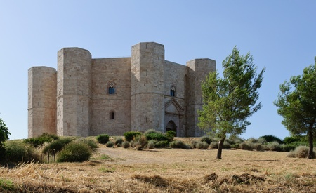 View of the medieval stonghold Castel del Monte, in Andria - Apulia, Italy