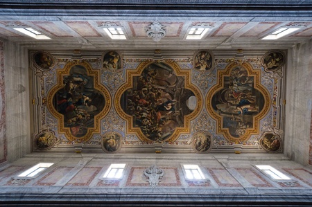 Interior of the Ostuni cathedral. Painted ceiling. Apulia, Italy.