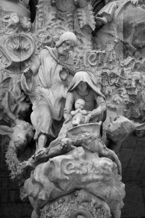 Sad man sculpture at Sagrada Familia, Barcelona, Spain