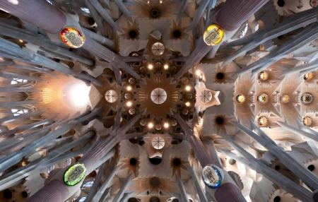 Sagrada Familia cathedral architecture  Interior Masterpiece of modernism architect Antoni Gaudi  Barcelona, Spain  Editorial