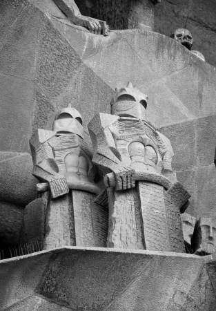 roman soldiers: Roman Soldiers sculpture at Sagrada Familia, Barcelona, Spain  Editorial