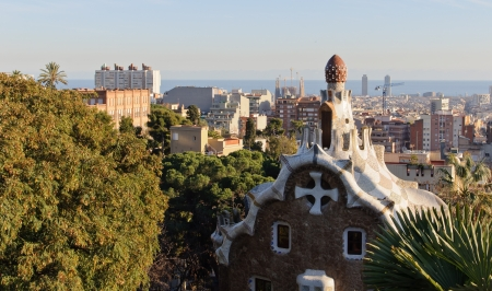 Park Guell architecture and city view  Masterpiece of modernism architect Antoni Gaudi  Barcelona, Spain  Stock Photo - 13707528