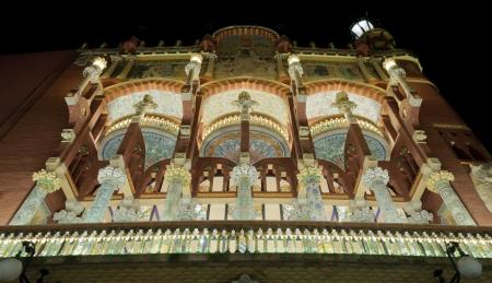 Palau de la Musica Catalana facade by night  Editorial