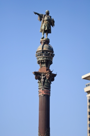 colom: Columbus Monument viewed from Passeig de Colom  Barcelona, Spain