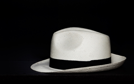 Panama hat on a black background