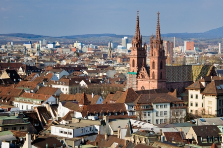 Basel Munster and city view  Switzerland