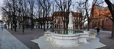 Fountain in Muensterplatz  Munster square  in Basel, Switzerland