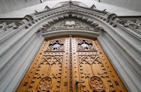 st gallen: Church wooden door decorated with bas-relief  St  Gallen, Switzerland