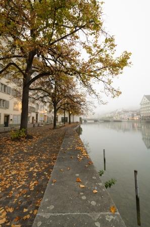 nebbia: View of river Limmat bank in autumn in Zurich, Switzerland