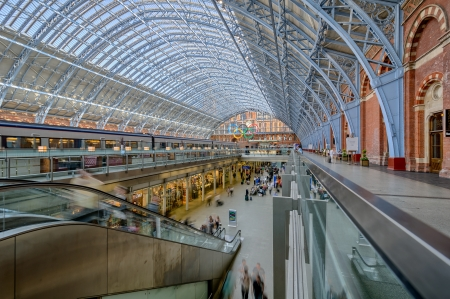 pancras: St  Pancras Railway station during the Olimpic Games  London  Editorial