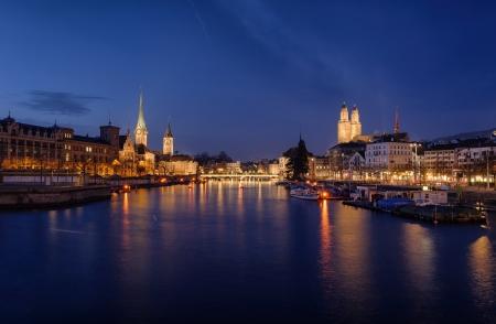 zurich: Zurich city center viewed from the river by night  Switzerland