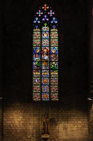 Stained glass window in Santa Maria del Mar church  Barcelona, Catalonia, Spain