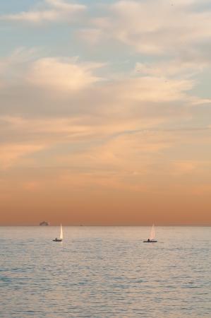 Sailboats and a cruise ship at distance Standard-Bild