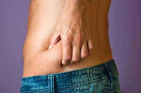 Localized fat in the hips with a hand that shows photo