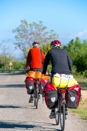 abruzzo: Bicycle travel on the road of Abruzzo Italy Stock Photo