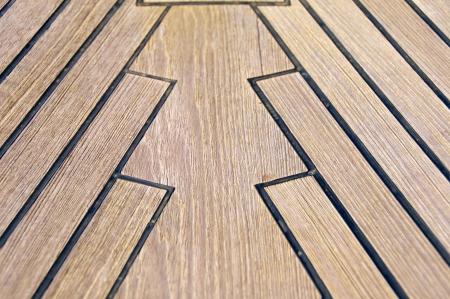 teck: Sailboat bow, wood deck detail, Italy
