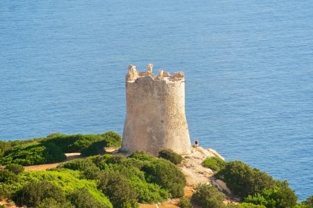 capo: Torre del Bollo, Capo Caccia, Sardinia, Italy Stock Photo