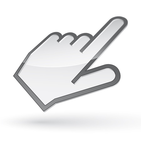 pointing finger pointing: Icon of left-handed cursor with shadow on white background Illustration