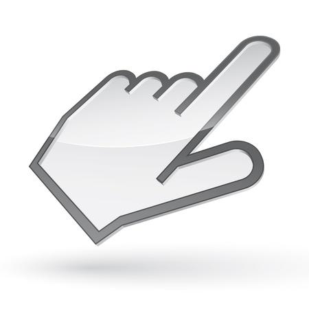 Icoon van de linkshandige cursor met schaduw op witte achtergrond Vector Illustratie