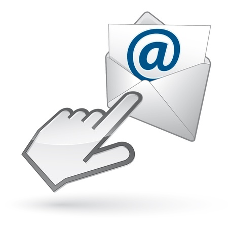 Icon of left-handed cursor on e-mail envelope, with shadow on white background