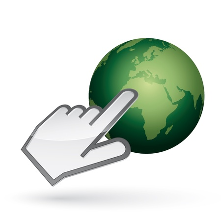hand showing thumbs up: Icon of left-handed cursor on green earth, with shadow on white background