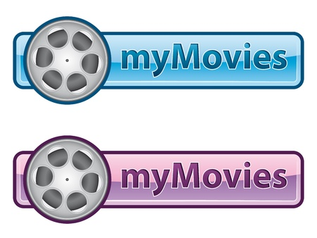 Pink and blue icon with film reel Illustration