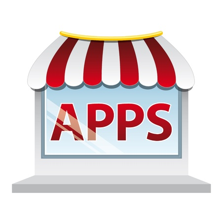Icon of a shop window with word Vector