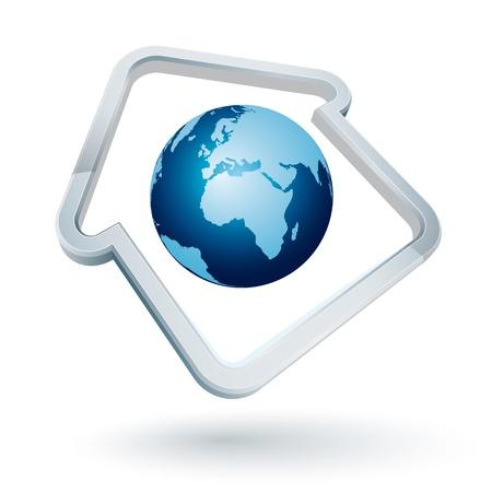 earth moving: Icono de un marco con forma de casa con la tierra azul