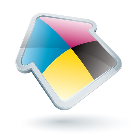 printer: Icon of a cmyk house