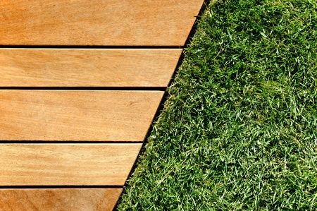 wood grass: Wood and grass divided by a diagonal