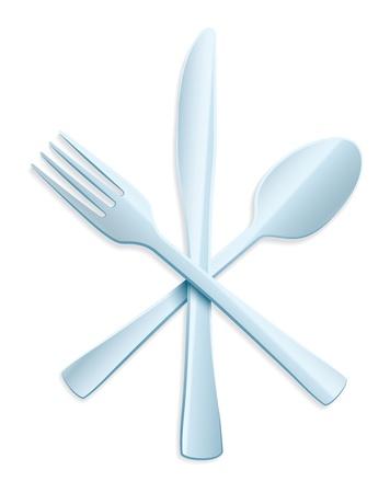 cubiertos de plata: Tenedor, cuchara y cuchillo en el fondo blanco Vectores