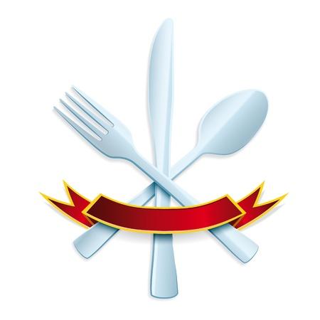 cubiertos de plata: Tenedor, cuchara y cuchillo sobre fondo blanco