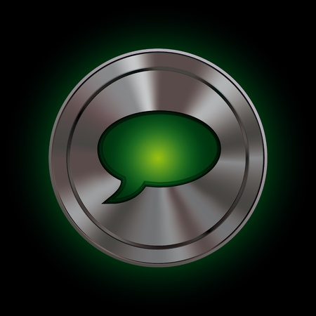 Round icon with metallic effect mesh and bright green symbol Stock Photo - 11547163
