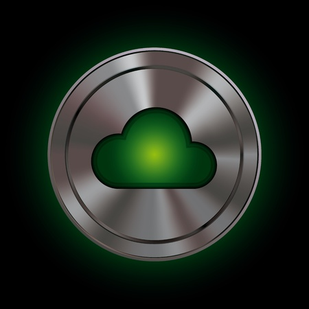 green computing: Round icon with metallic effect mesh and bright green symbol