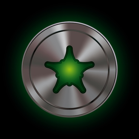 Round icon with metallic effect mesh and bright green symbol