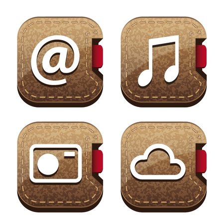 Set of four brown folder icons Stock Photo - 11809121
