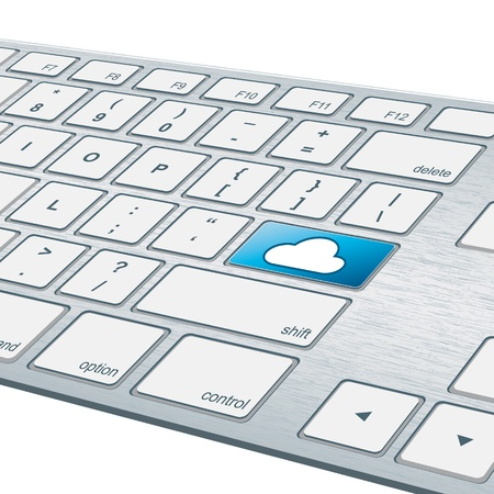 Close up of aluminum keyboard with cloud key Stock Photo