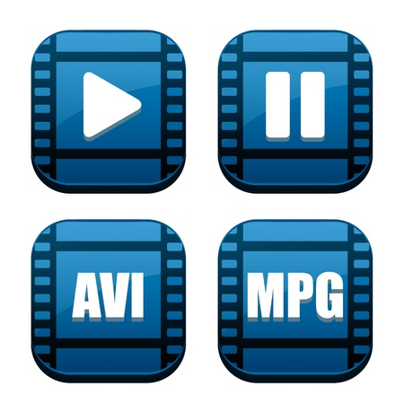 Set of four movie blue icons
