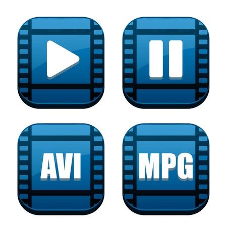 Set of four movie blue icons