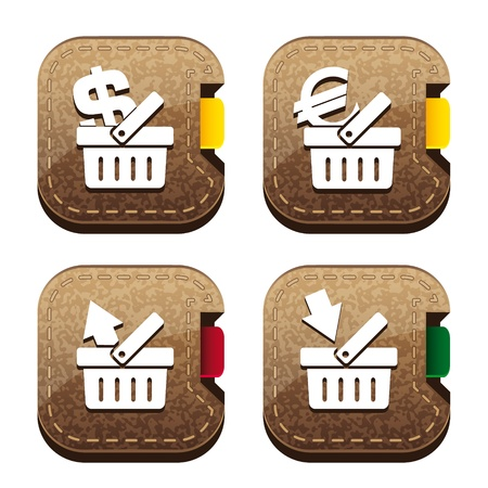Set of four brown folder icons with basket