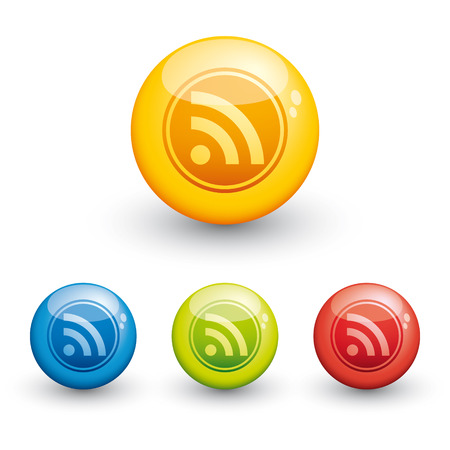 red sphere: RSS glossy icon