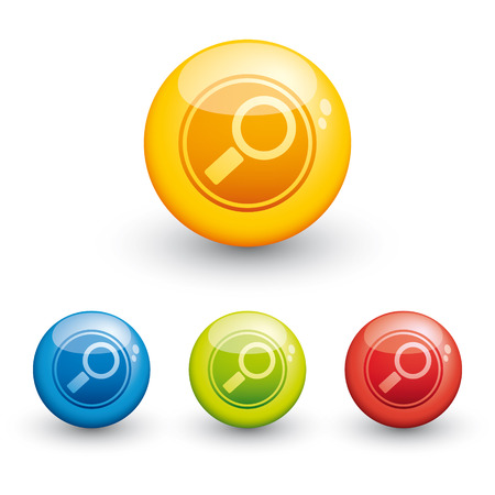 sphere glossy icon - search Illustration