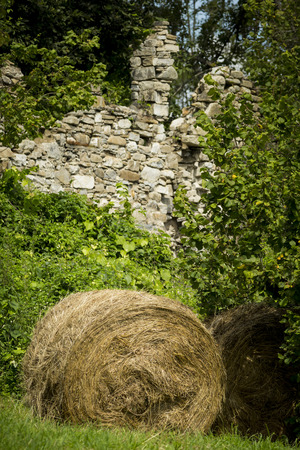 Hay bales in rural field with wall background Stok Fotoğraf