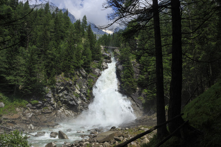 wonderful waterfall in the Adamello Brenta Natural Park, Genoa valley