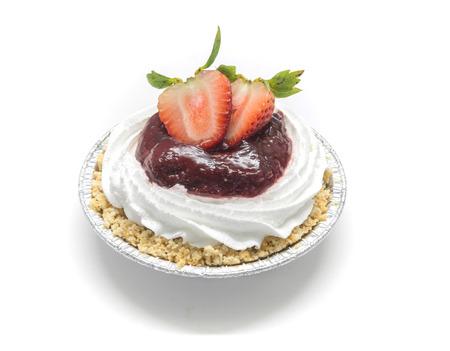 jams: strawberry and raspberry jams cheese pie Stock Photo