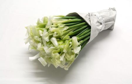cabeza abajo: un ramo de flores extra�as, hojas de cebollino al rev�s en el fondo tono blanco